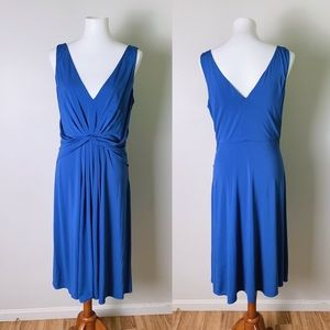 ELIE TAHARI Cobalt Drapey V-Neck Dress